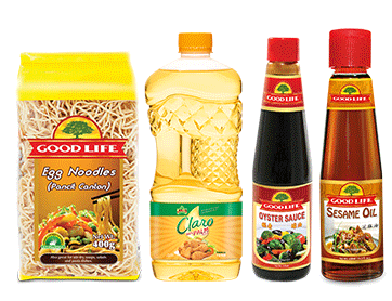 400g Good Life Egg Noodles, Good Life Oyster Sauce, Jolly Claro Paim Olein and Good Life Sesame Oil